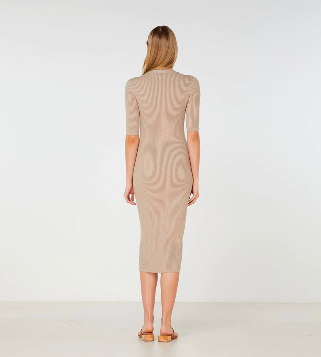 Elka Collective | Quinn Knit Dress | Light Taupe