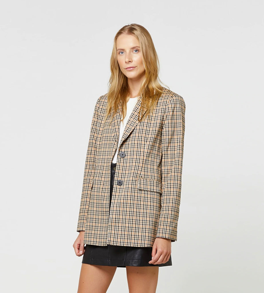 Elka Collective | Sofia Blazer | Tan Check