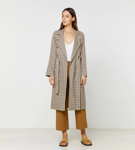 Elka Collective | Sofia Coat | Tan Check