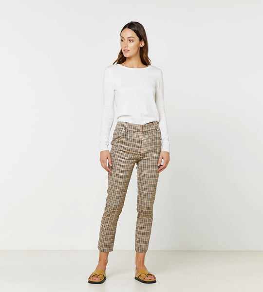 Elka Collective Sofia Pant Tan Check