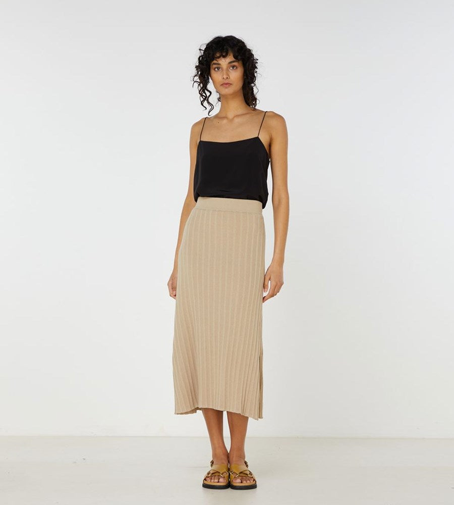 Elka Collective | Yana Knit Skirt | Light Taupe