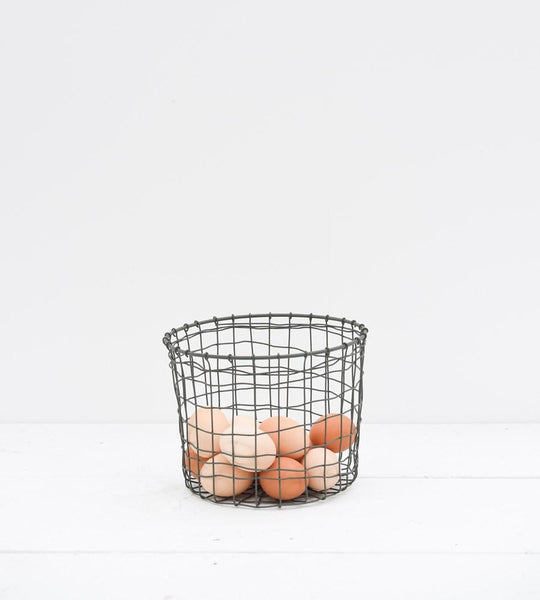 fog linen grey round pot wire basket