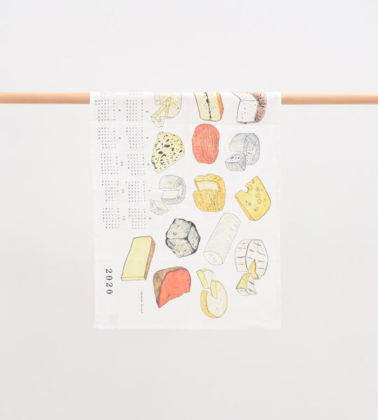 Fog Linen Fabric Calendar Tea Towel Fromage