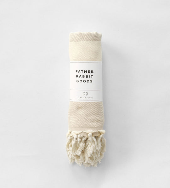 Father Rabbit Goods | Turkish Towel | The Herringbone | Beige & Natural