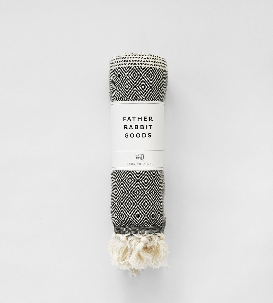 Father Rabbit Goods | Turkish Towel | The Geometric | Black & Natural