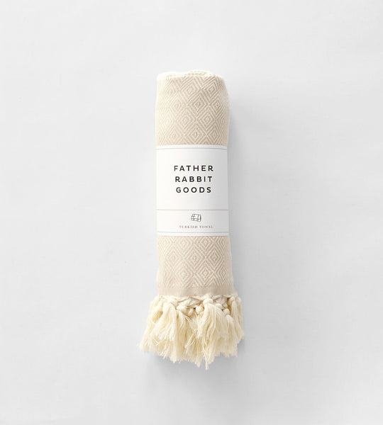 Father Rabbit Goods | Turkish Towel | The Geometric | Beige & Natural