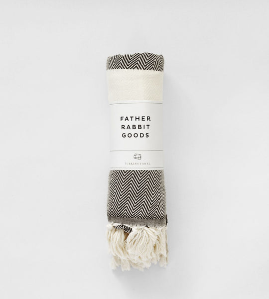 Father Rabbit Goods | Turkish Towel | The Herringbone | Black & Natural