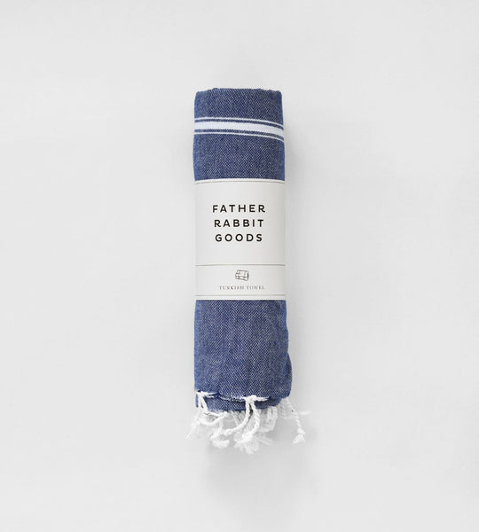 Father Rabbit Goods | Turkish Towel | The Nautical | Denim & White