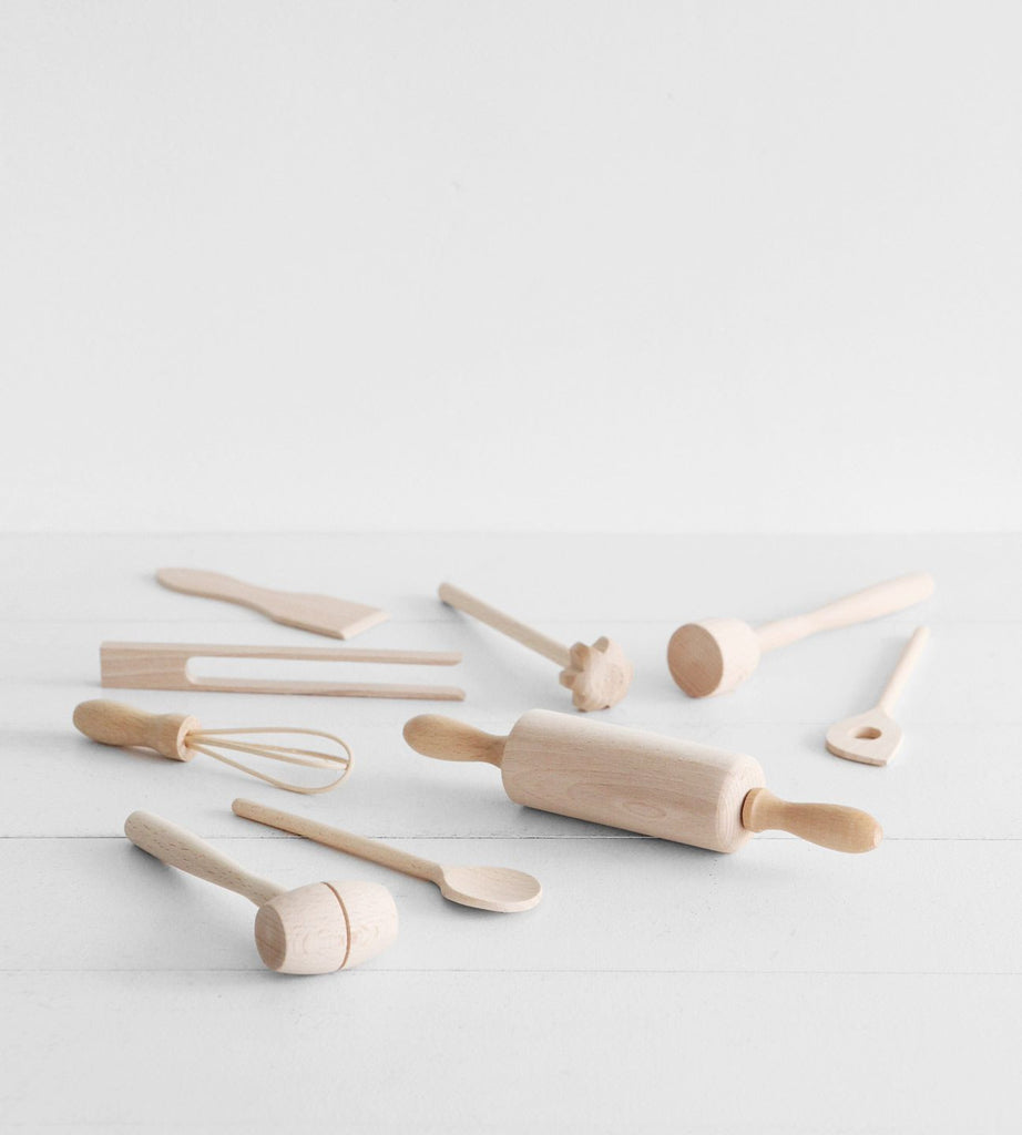 Klawe | Kids Beechwood Baking Utensil 9 Piece Set