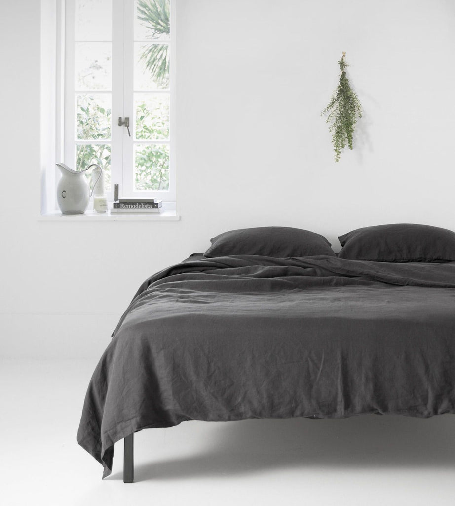 Father Rabbit | Linen Duvet Cover | Charcoal