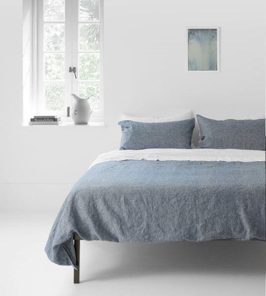 Father Rabbit | Linen Duvet Cover | Denim