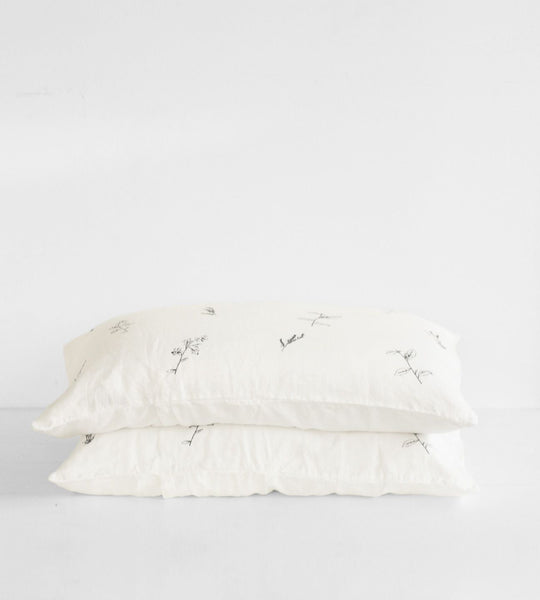 Father Rabbit | Linen Standard Pillowcase Pair | Cream | Botanical