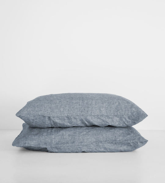 Father Rabbit | Linen Standard Pillowcase Pair | Denim