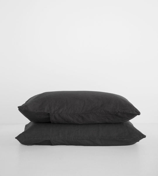 Father Rabbit | Linen Standard Pillowcase Pair | Charcoal