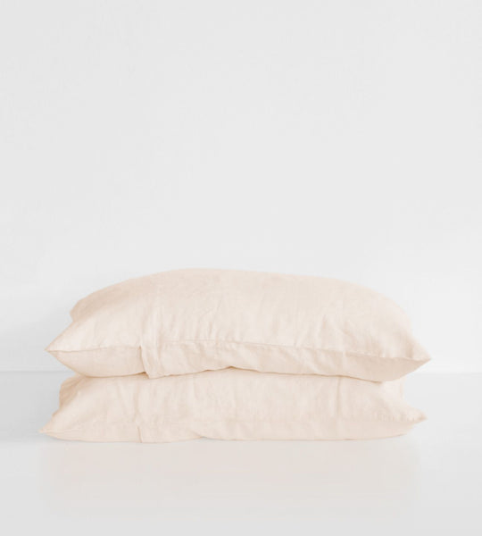 Father Rabbit | Linen Standard Pillowcase Pair | Shell