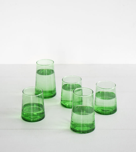 Beldi Wine Glass Moroccan Green Tapered