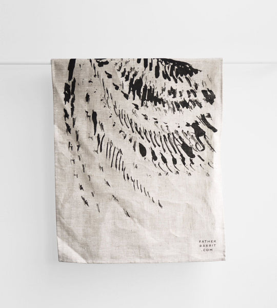 Father Rabbit | Abstract Linen Tea Towel | Natural