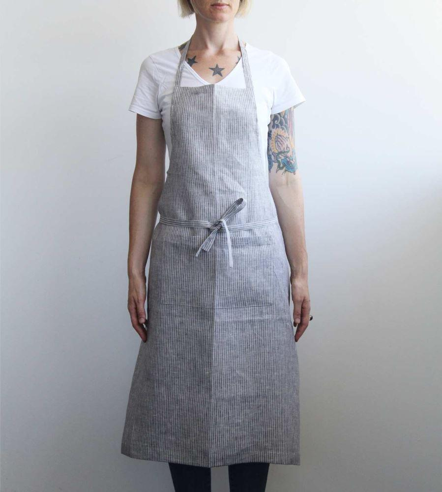Fog Linen | Full Apron | Grey White Stripe