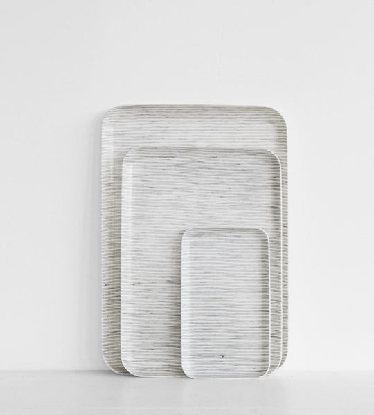 Fog Linen Tray | Grey Stripe