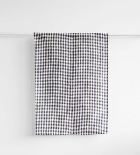 Fog Linen Tea Towel | Grey White Gingham