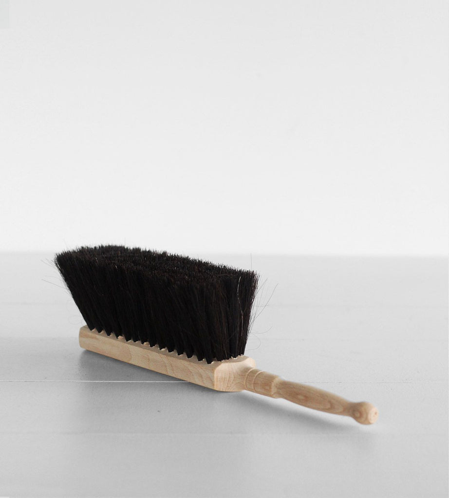 Dust Pan Brush | Black Horse Hair & Light Wood Handle