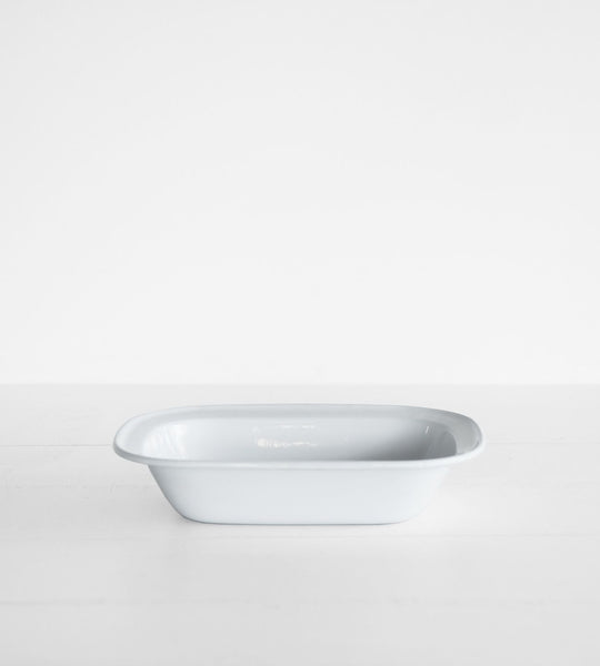 White Enamel Oblong Pie Dish | 24cm
