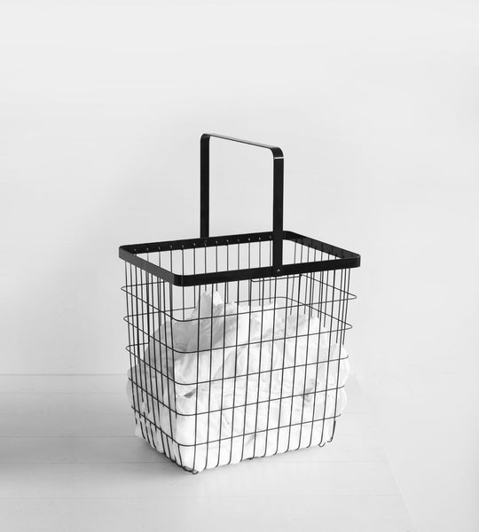 Yamazaki | Tower Laundry Wire Basket Large | Black