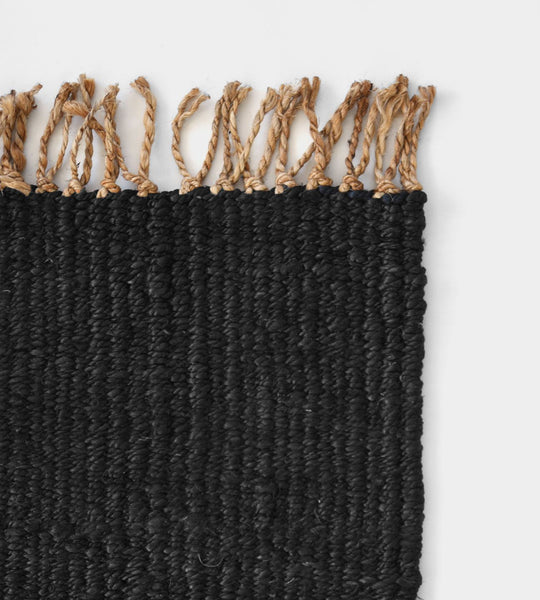 Mat | Plain Charcoal with Natural Fringe