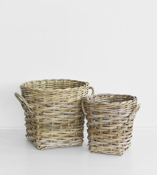 Grove Round Woven Basket with Handle