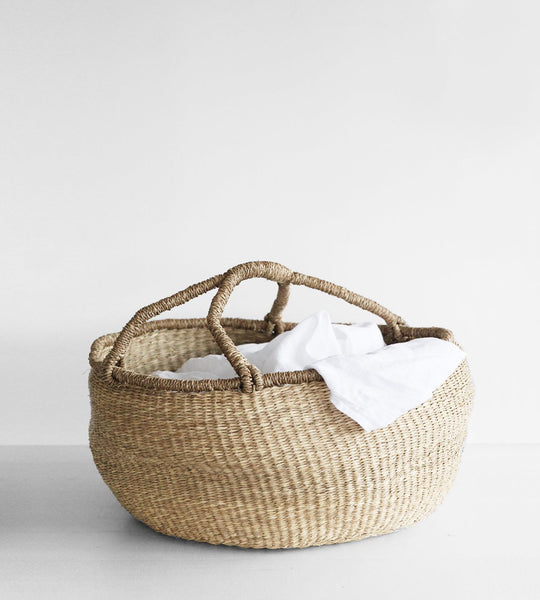 Large Slouched Natural Handle Basket