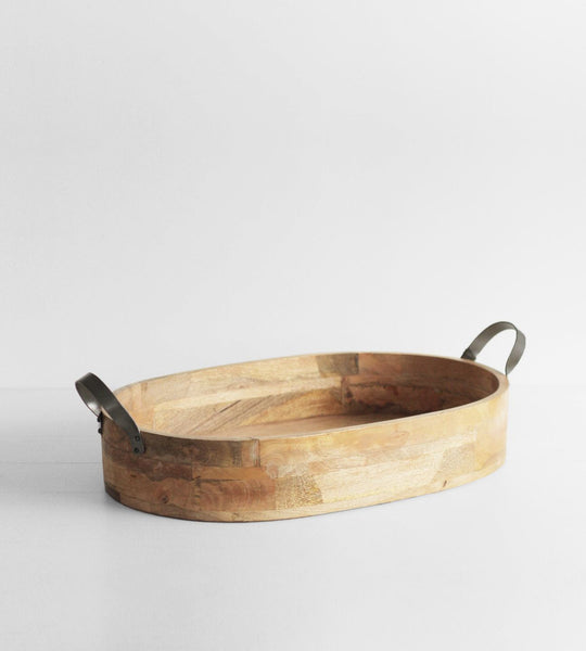 Ploughmans Oval Serving Tray with Iron Handles