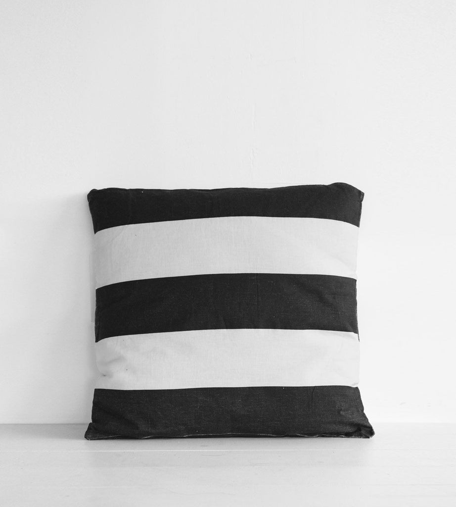 Linen Cushion | Bold Stripe | White & Black