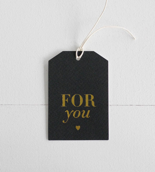Elm Paper | For You Black + Gold Gift Tag
