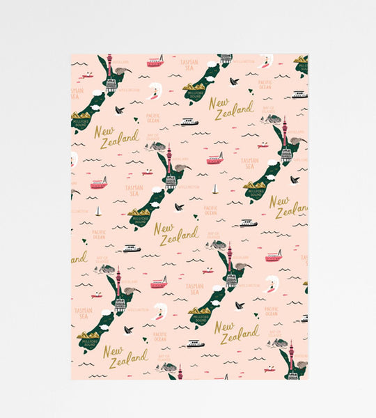 Rifle Paper Co. | Wrapping Sheet | Map of New Zealand