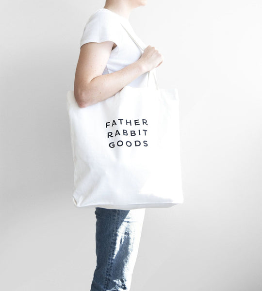 Father Rabbit Goods | Cotton Canvas Tote | Cream