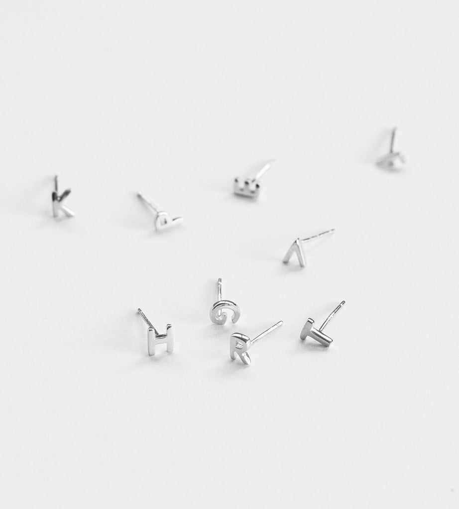 Sophie Little Letter Earrings Sterling Silver