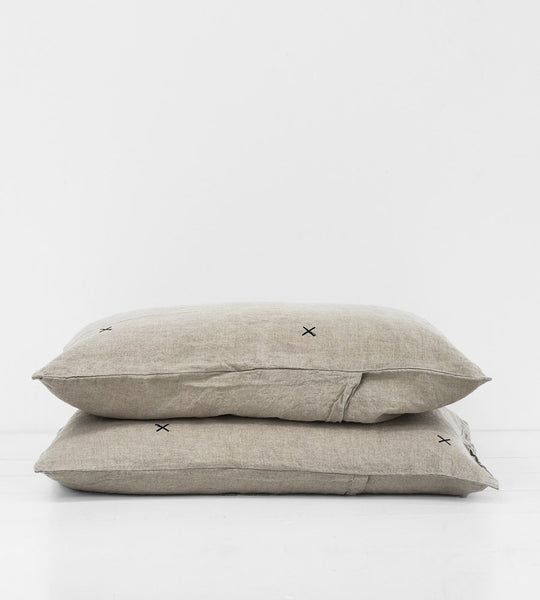 Father Rabbit | Linen Standard Pillowcase Pair | Natural | Kisses