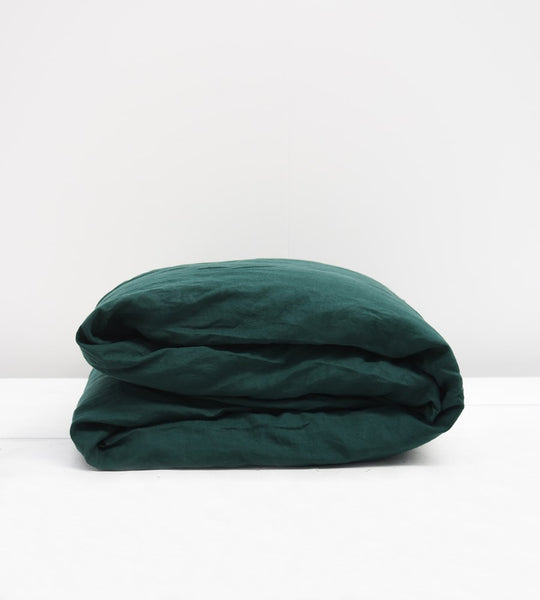 Father Rabbit | Linen Duvet Cover | Botanical Dark Green