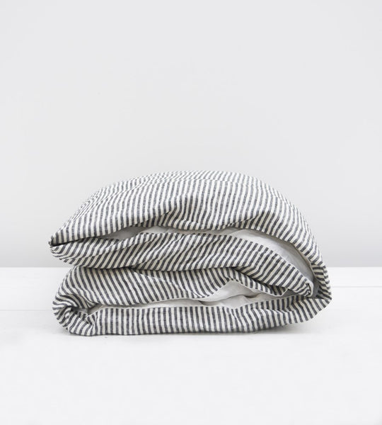 Father Rabbit | Linen Reversible Duvet Cover | Cream & Charcoal Stripe