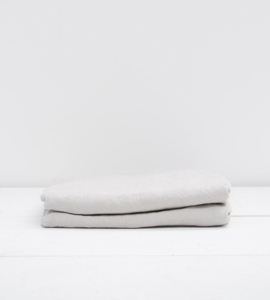 Father Rabbit | Linen Fitted Sheet | Rain Grey