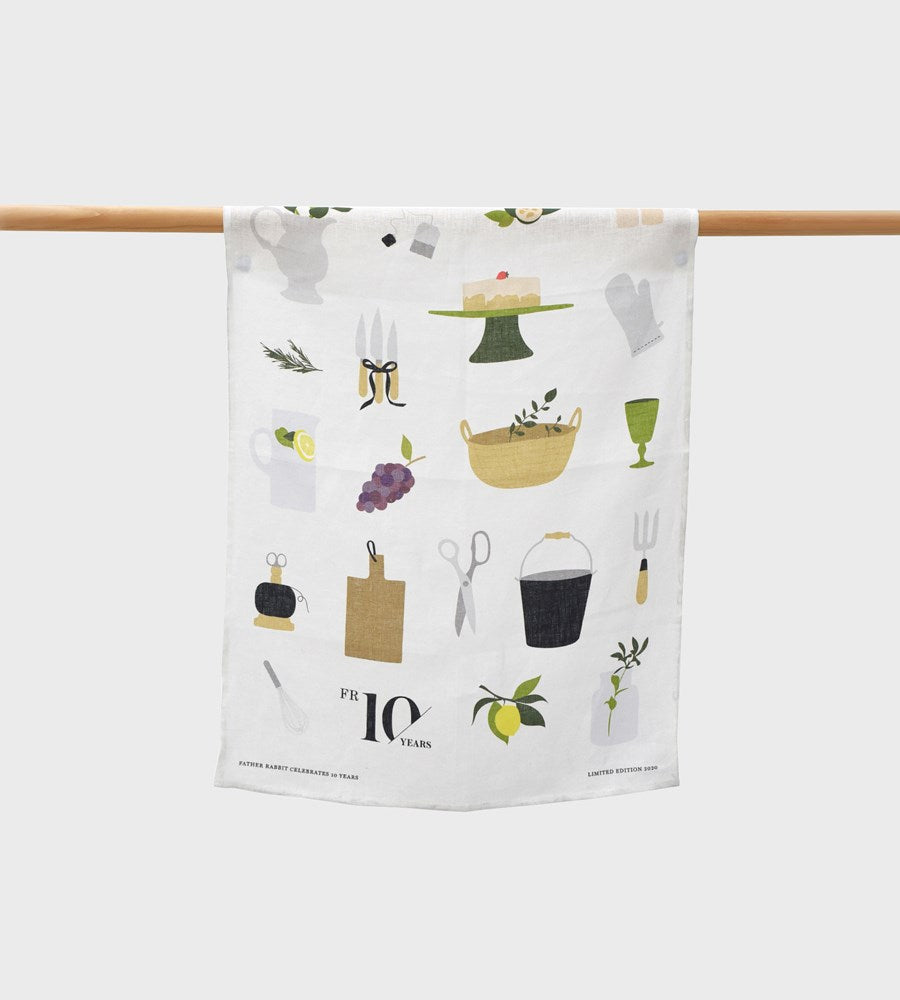 Father Rabbit | 10 Years Birthday Celebration Limited Edition Tea Towel
