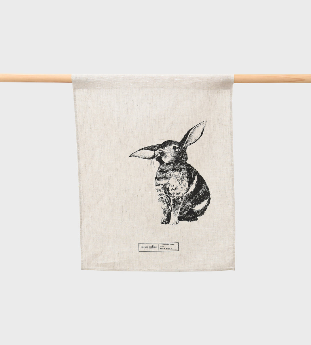 Father Rabbit | Baby Bunny Linen Tea Towel | Natural