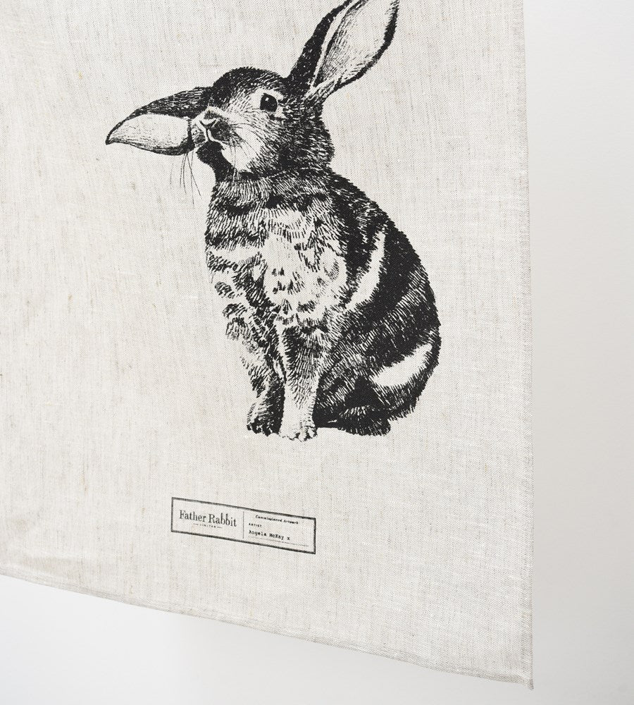 Father Rabbit Baby Bunny Linen Tea Towel Natural