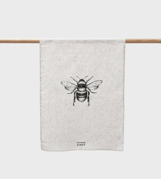Father Rabbit | Bee Linen Tea Towel | Natural