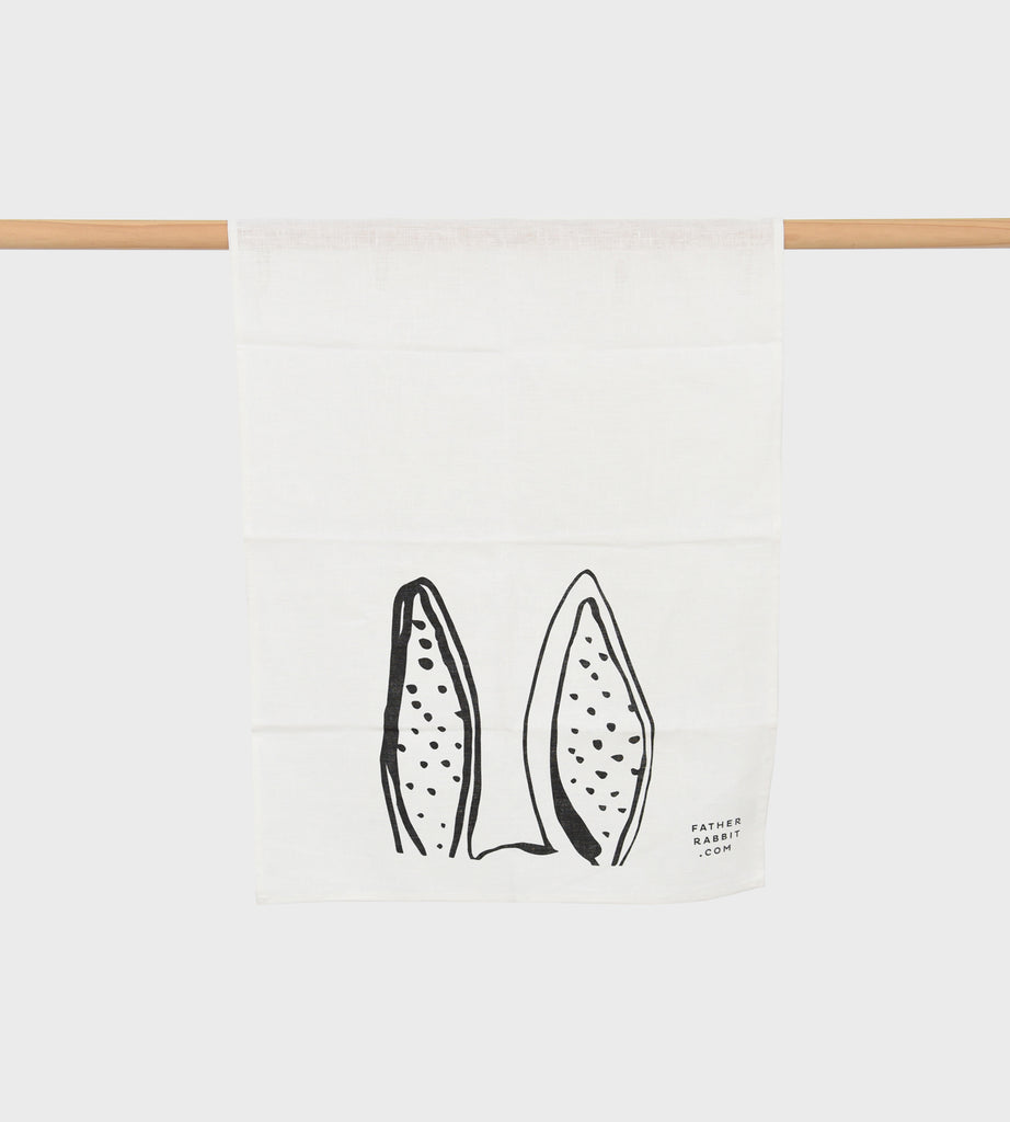 Father Rabbit | Bunny Ears Linen Tea Towel | Cream