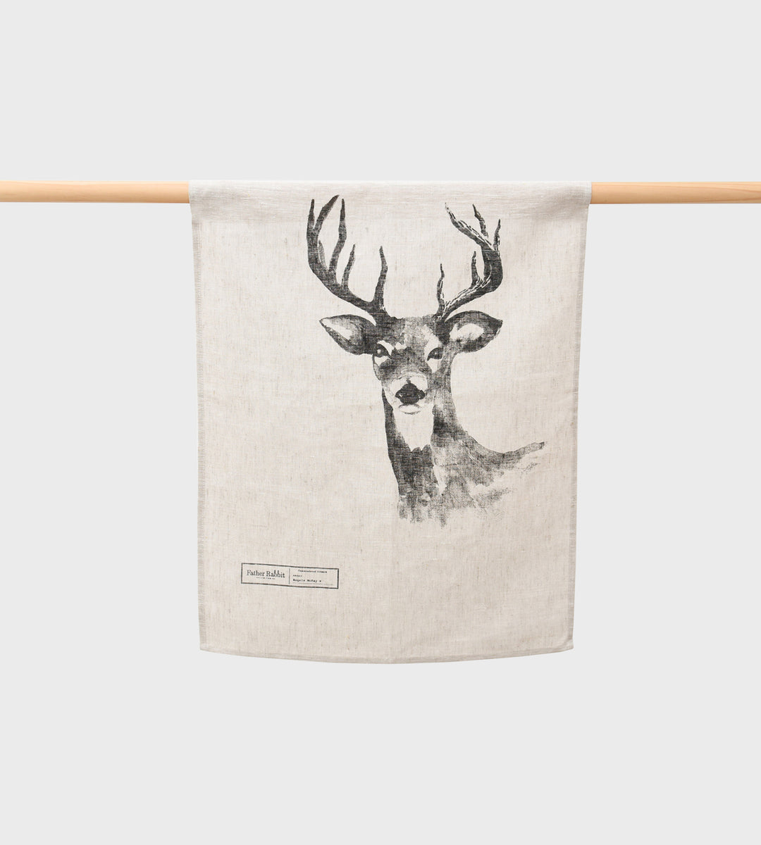 Father Rabbit | Deer Linen Tea Towel | Natural