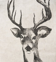Father Rabbit Deer Linen Tea Towel Natural