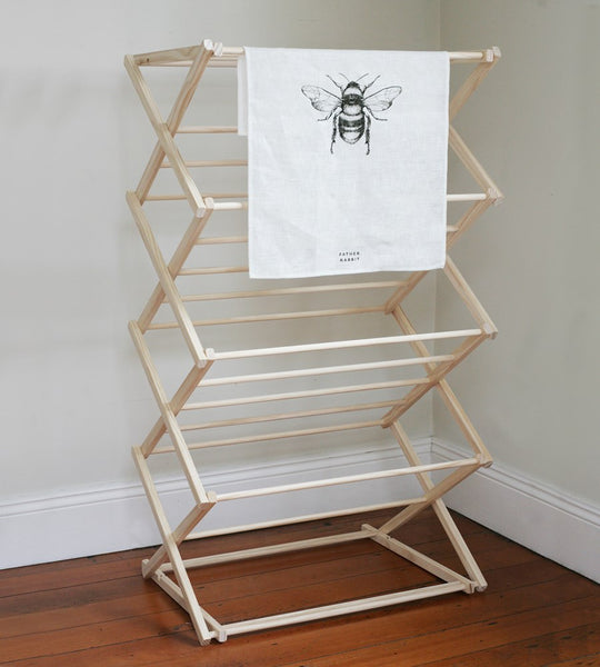 Father Rabbit | Wooden Clothes Drying Rack with Built in Top Rack