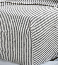 Father Rabbit | Linen Fitted Sheet | Charcoal Stripe