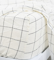 Father Rabbit | Linen Fitted Sheet | Grid